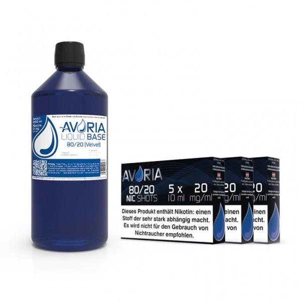 Avoria Basen Bundle 1 Liter 80/20 mit Nikotinshots für bis zu 3mg Nikotin bei LiquidExpress24